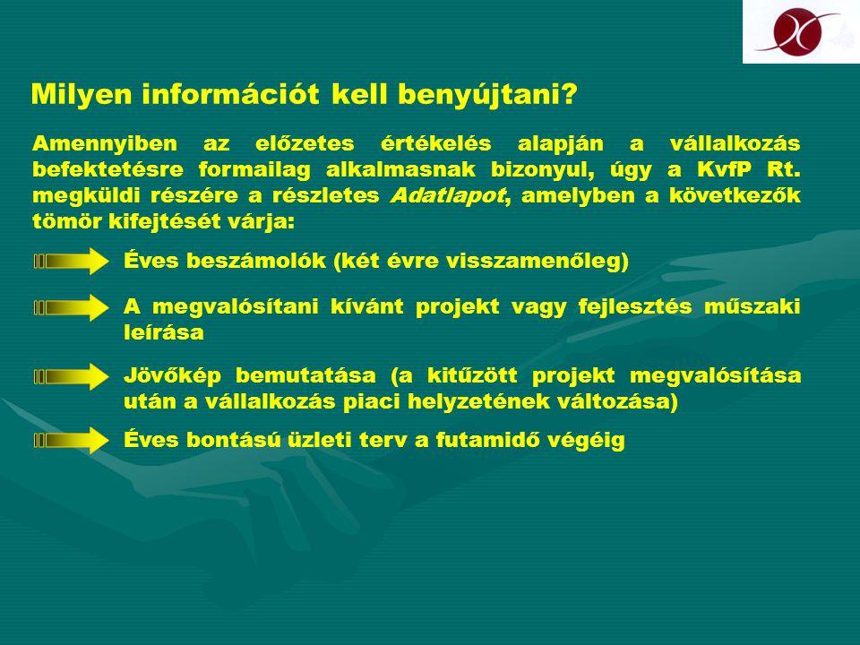 Milyen információt kell benyújtani? Amennyiben az előzetes értékelés alapján a vállalkozás befektetésre formailag alkalmasnak bizonyul, úgy a KvfP Rt.