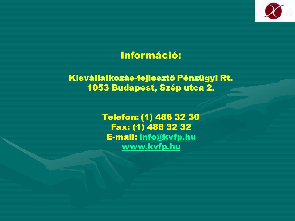 Információ: Kisvállalkozás-fejlesztő Pénzügyi Rt. 1053 Budapest, Szép utca 2. Telefon: (1) 486 32 30 Fax: (1) 486 32 32 E-mail: info@kvfp.hu www.kvfp.
