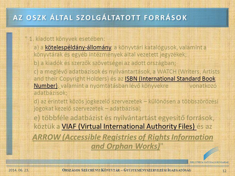 BIBLIOTHECA NATIONALIS HUNGARIAE 2014. 06. 23. O RSZÁGOS S ZÉCHÉNYI K ÖNYVTÁR – G YŰJTEMÉNYSZERVEZÉSI I GAZGATÓSÁG 12