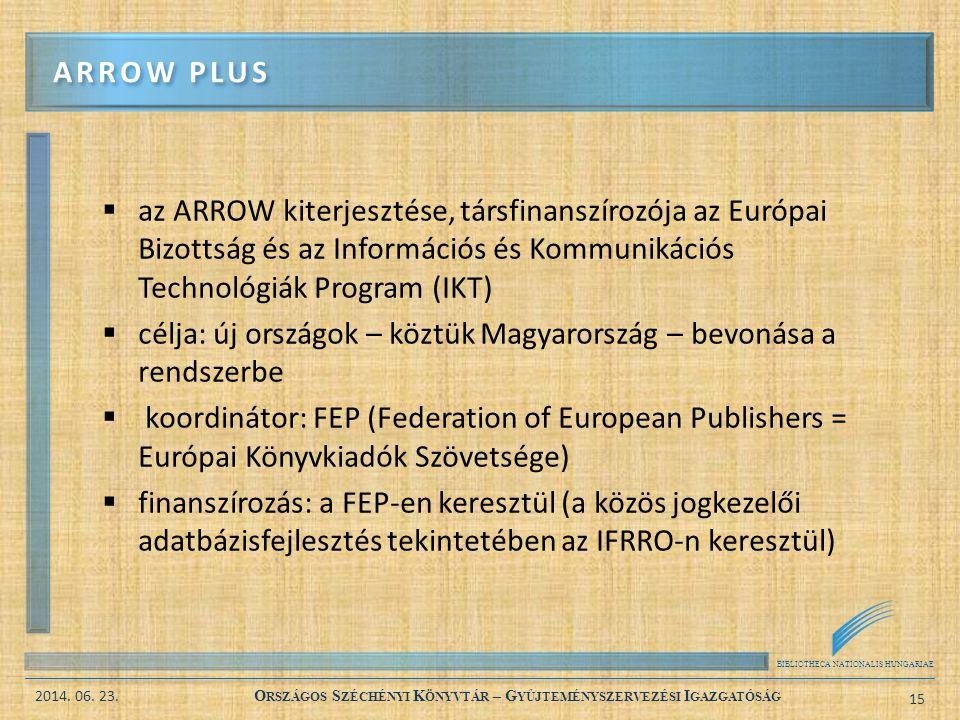 BIBLIOTHECA NATIONALIS HUNGARIAE 2014. 06. 23. O RSZÁGOS S ZÉCHÉNYI K ÖNYVTÁR – G YŰJTEMÉNYSZERVEZÉSI I GAZGATÓSÁG 15  az ARROW kiterjesztése, társfi