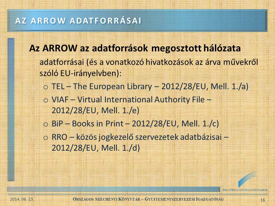 BIBLIOTHECA NATIONALIS HUNGARIAE 2014. 06. 23. O RSZÁGOS S ZÉCHÉNYI K ÖNYVTÁR – G YŰJTEMÉNYSZERVEZÉSI I GAZGATÓSÁG 16 Az ARROW az adatforrások megoszt
