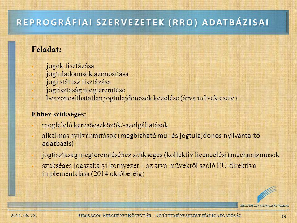 BIBLIOTHECA NATIONALIS HUNGARIAE 2014. 06. 23. O RSZÁGOS S ZÉCHÉNYI K ÖNYVTÁR – G YŰJTEMÉNYSZERVEZÉSI I GAZGATÓSÁG 19 Feladat:  jogok tisztázása  jo