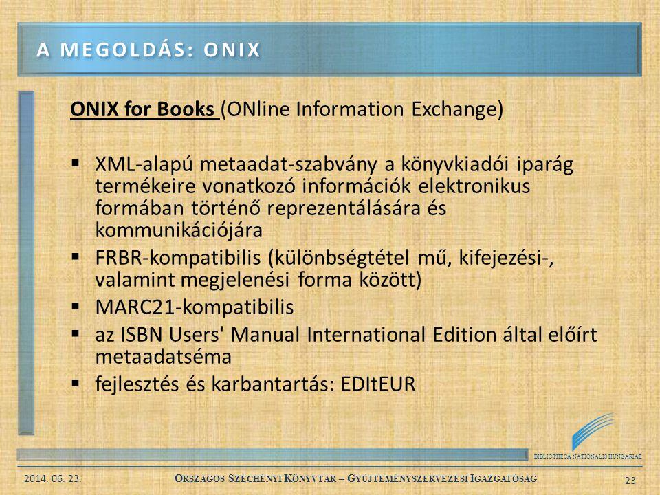 BIBLIOTHECA NATIONALIS HUNGARIAE 2014. 06. 23. O RSZÁGOS S ZÉCHÉNYI K ÖNYVTÁR – G YŰJTEMÉNYSZERVEZÉSI I GAZGATÓSÁG 23 ONIX for Books (ONline Informati
