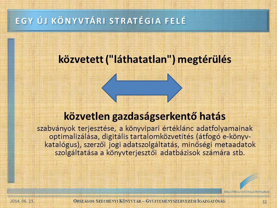 BIBLIOTHECA NATIONALIS HUNGARIAE 2014. 06. 23. O RSZÁGOS S ZÉCHÉNYI K ÖNYVTÁR – G YŰJTEMÉNYSZERVEZÉSI I GAZGATÓSÁG 32 közvetett (