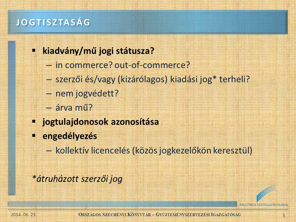 BIBLIOTHECA NATIONALIS HUNGARIAE 2014. 06. 23. O RSZÁGOS S ZÉCHÉNYI K ÖNYVTÁR – G YŰJTEMÉNYSZERVEZÉSI I GAZGATÓSÁG 5  kiadvány/mű jogi státusza? – in