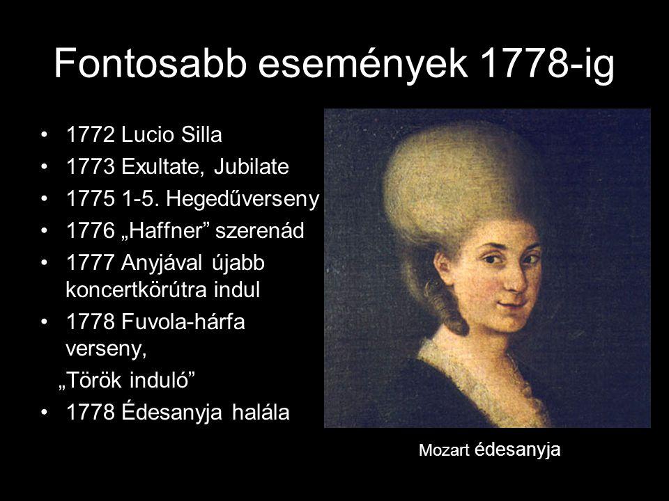 Fontosabb események 1778-ig •1772 Lucio Silla •1773 Exultate, Jubilate •1775 1-5.