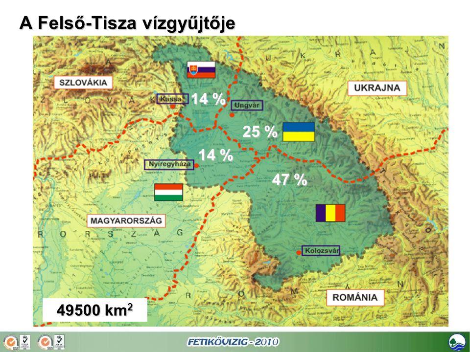 A Felső-Tisza vízgyűjtője 14 % 25 % 47 % 49500 km 2