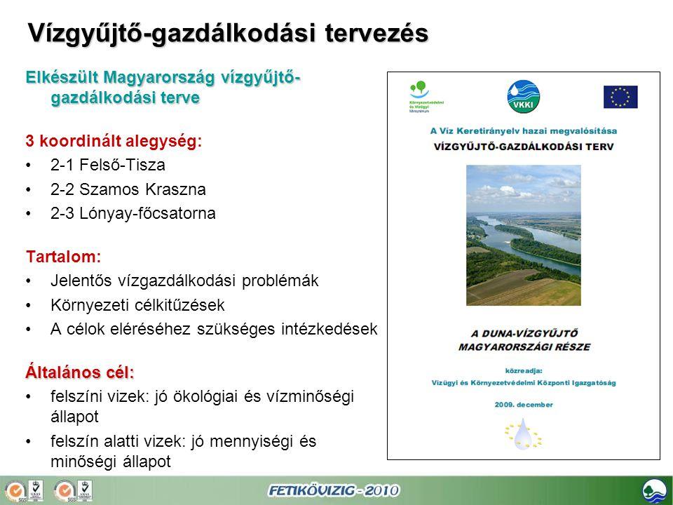 Elkészült Magyarország vízgyűjtő- gazdálkodási terve 3 koordinált alegység: •2-1 Felső-Tisza •2-2 Szamos Kraszna •2-3 Lónyay-főcsatorna Tartalom: •Jel