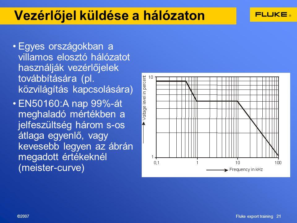 ©2007Fluke export training 21 Vezérlőjel küldése a hálózaton •Egyes országokban a villamos elosztó hálózatot használják vezérlőjelek továbbítására (pl