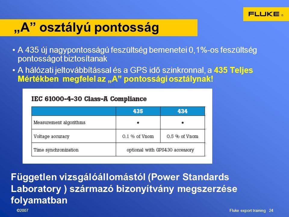 """©2007Fluke export training 24 """"A"""" osztályú pontosság •A 435 új nagypontosságú feszültség bemenetei 0,1%-os feszültség pontosságot biztosítanak •A háló"""