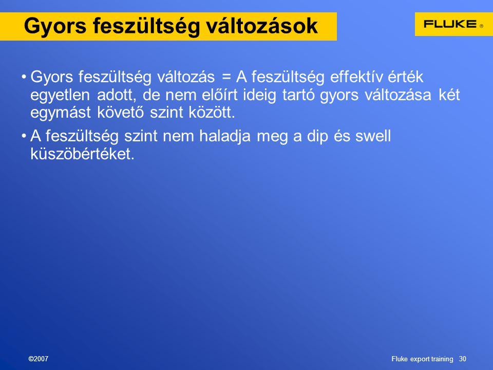©2007Fluke export training 30 Gyors feszültség változások •Gyors feszültség változás = A feszültség effektív érték egyetlen adott, de nem előírt ideig
