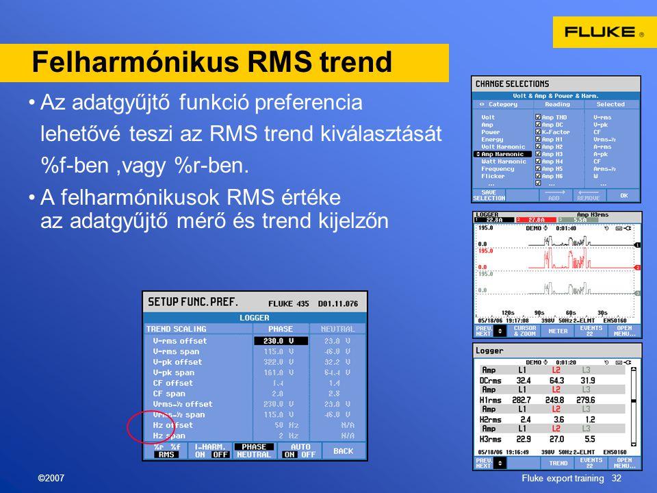 ©2007Fluke export training 32 Felharmónikus RMS trend •Az adatgyűjtő funkció preferencia lehetővé teszi az RMS trend kiválasztását %f-ben,vagy %r-ben.