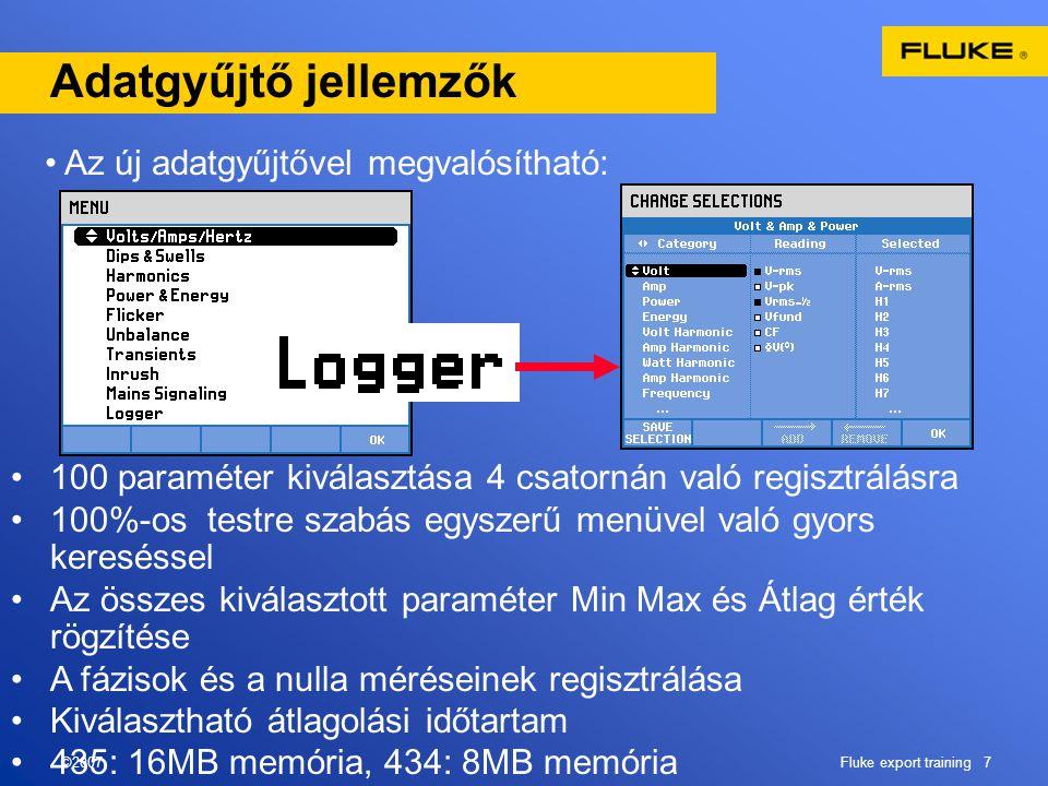 ©2007Fluke export training 7 Adatgyűjtő jellemzők •Az új adatgyűjtővel megvalósítható: •100 paraméter kiválasztása 4 csatornán való regisztrálásra •10