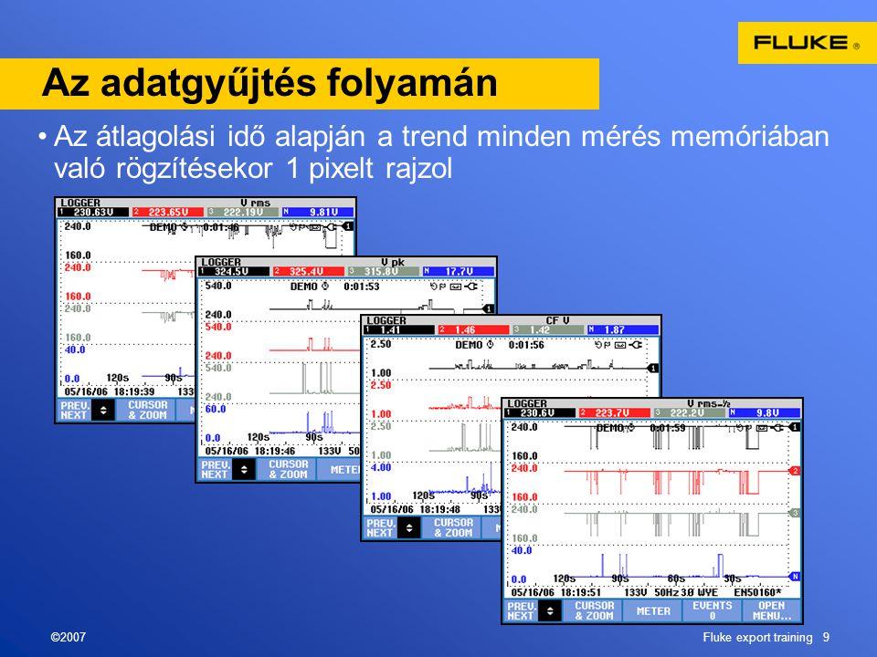 ©2007Fluke export training 9 Az adatgyűjtés folyamán •Az átlagolási idő alapján a trend minden mérés memóriában való rögzítésekor 1 pixelt rajzol
