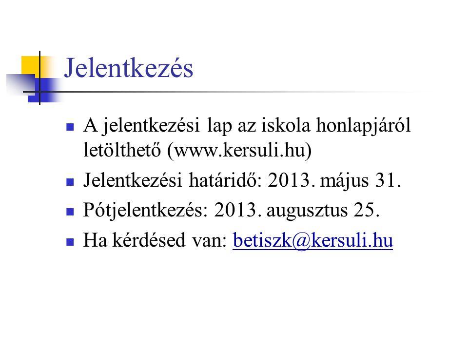 Jelentkezés  A jelentkezési lap az iskola honlapjáról letölthető (www.kersuli.hu)  Jelentkezési határidő: 2013. május 31.  Pótjelentkezés: 2013. au