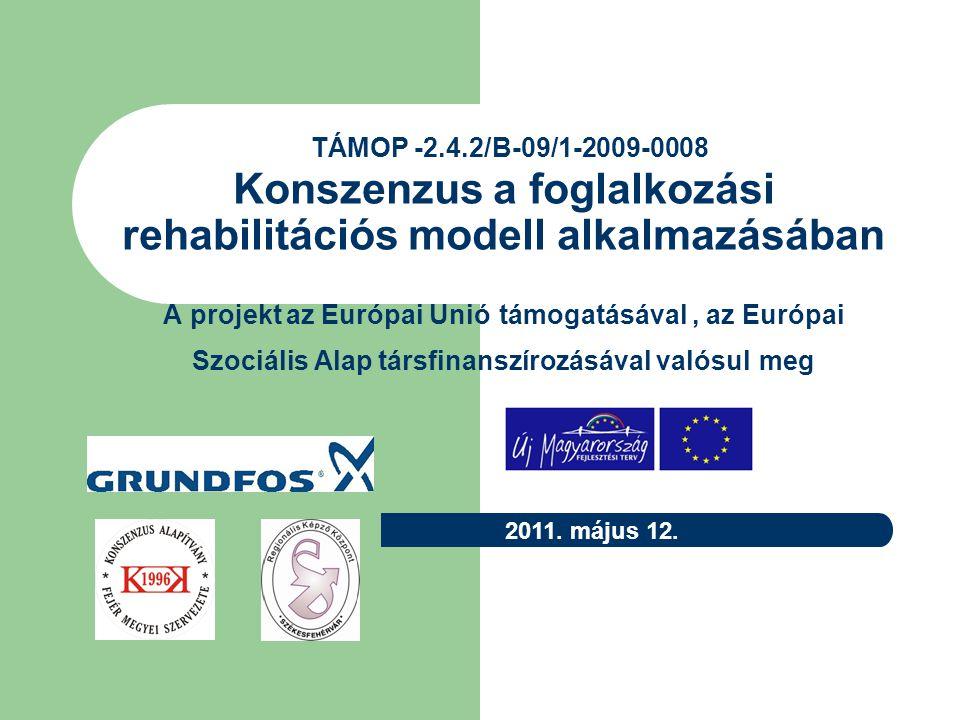 TÁMOP -2.4.2/B-09/1-2009-0008 A projekt az Európai Unió támogatásával, az Európai Szociális Alap társfinanszírozásával valósul meg A konzorciumban elnyert pályázatának célja, hogy minél több fogyatékkal élő és megváltozott munkaképességű ember kerüljön integrált foglalkoztatásba, azaz olyan munkahelyekre, amelyek alkalmazkodnak a dolgozók egészségi állapotához, meglévő képességeikhez.