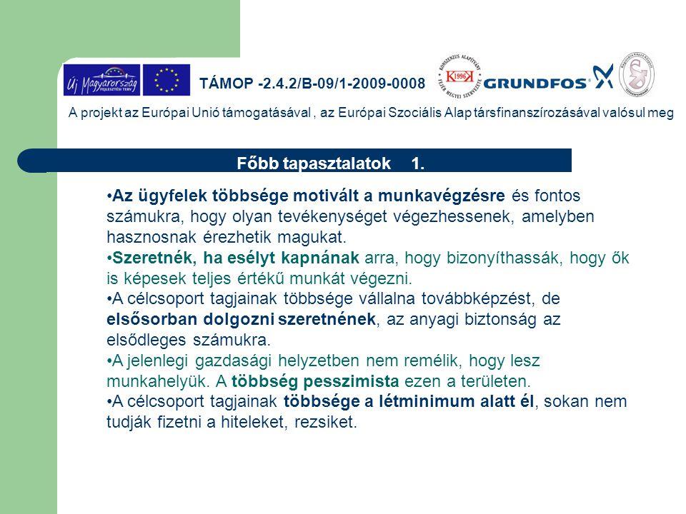 TÁMOP -2.4.2/B-09/1-2009-0008 A projekt az Európai Unió támogatásával, az Európai Szociális Alap társfinanszírozásával valósul meg Főbb tapasztalatok