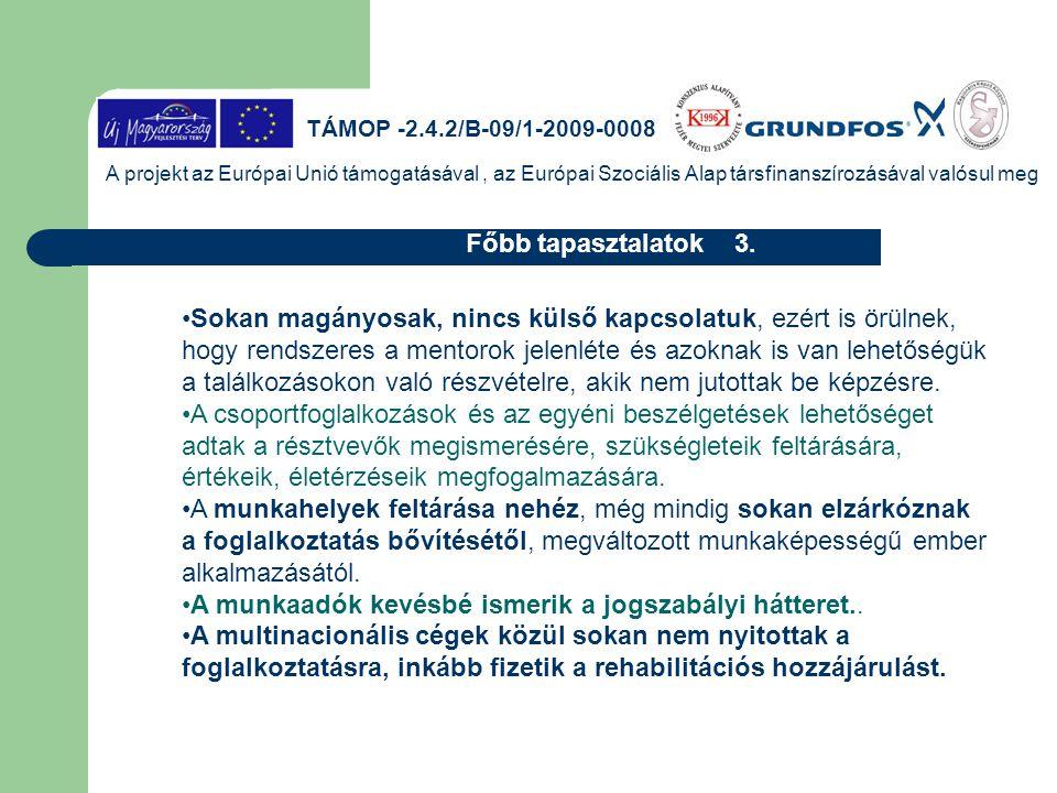 TÁMOP -2.4.2/B-09/1-2009-0008 A projekt az Európai Unió támogatásával, az Európai Szociális Alap társfinanszírozásával valósul meg Készen a munkavégzé