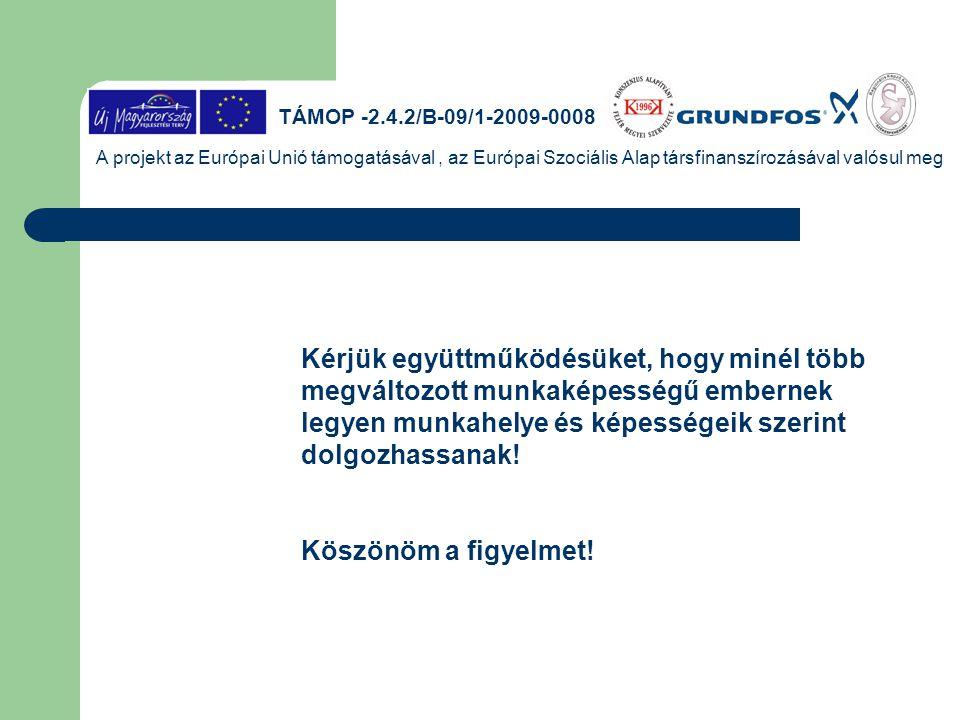 TÁMOP -2.4.2/B-09/1-2009-0008 A projekt az Európai Unió támogatásával, az Európai Szociális Alap társfinanszírozásával valósul meg Kérjük együttműködé