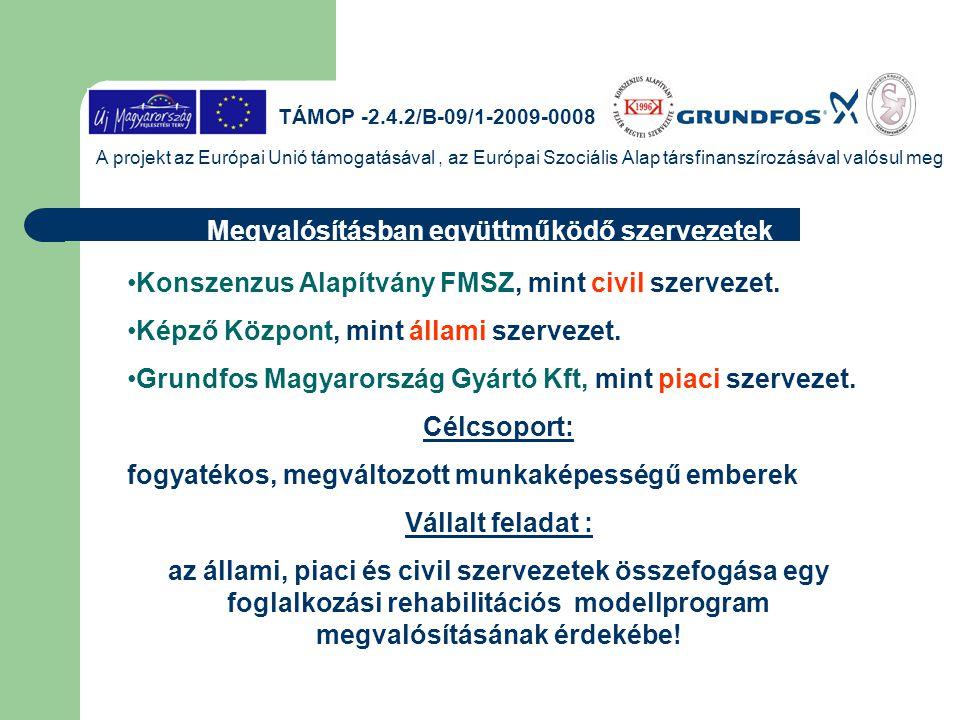 TÁMOP -2.4.2/B-09/1-2009-0008 A projekt az Európai Unió támogatásával, az Európai Szociális Alap társfinanszírozásával valósul meg Konszenzus Alapítvány FMSZ készítette fel a jelentkezőket a programba való részvételre, foglalkozási rehabilitációt támogató szolgáltatásokat biztosított.