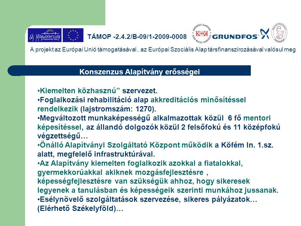A projekt az Európai Unió támogatásával, az Európai Szociális Alap társfinanszírozásával valósul meg Mentori tevékenység eredményei 2.