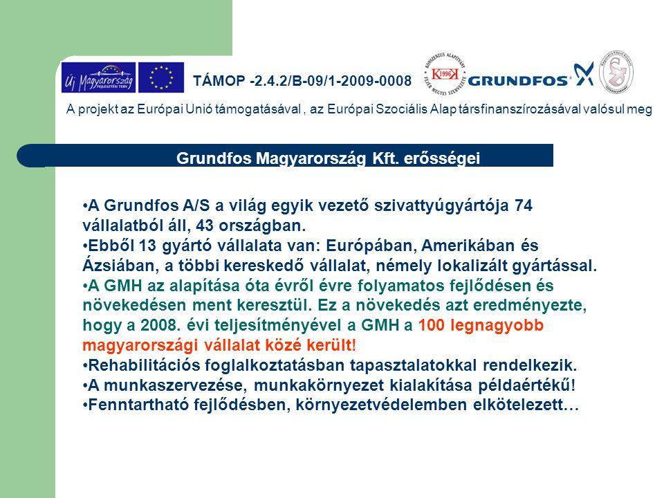 TÁMOP -2.4.2/B-09/1-2009-0008 A projekt az Európai Unió támogatásával, az Európai Szociális Alap társfinanszírozásával valósul meg Grundfos Magyarorsz