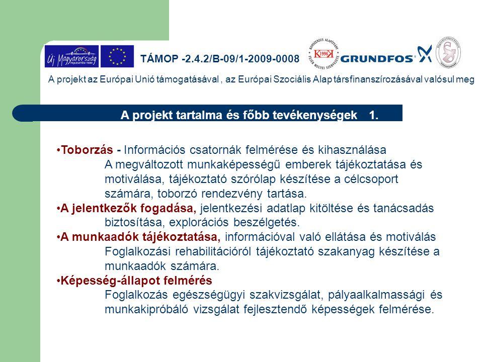 TÁMOP -2.4.2/B-09/1-2009-0008 A projekt az Európai Unió támogatásával, az Európai Szociális Alap társfinanszírozásával valósul meg Projekt tevékenység