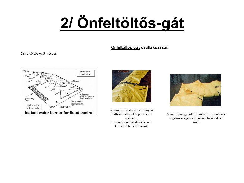 2/ Önfeltöltős-gát Önfeltöltős-gát részei: Önfeltöltős-gát csatlakozásai: A sorompó szakaszok könnyen csatlakoztathatók tépőzáras ™ szalagos.