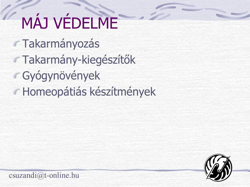 csuzandi@t-online.hu MÁJ VÉDELME Takarmányozás Takarmány-kiegészítők Gyógynövények Homeopátiás készítmények