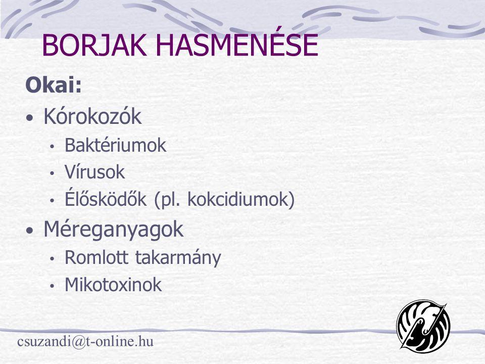 csuzandi@t-online.hu BORJAK HASMENÉSE Okai: • Kórokozók • Baktériumok • Vírusok • Élősködők (pl. kokcidiumok) • Méreganyagok • Romlott takarmány • Mik
