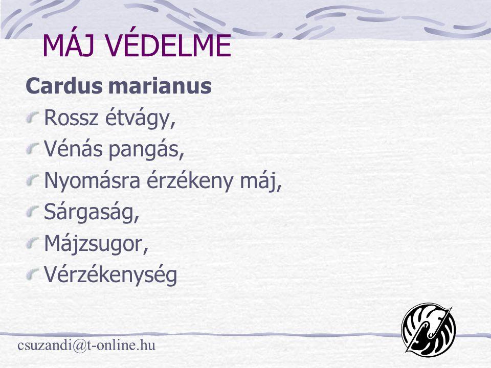 csuzandi@t-online.hu MÁJ VÉDELME Cardus marianus Rossz étvágy, Vénás pangás, Nyomásra érzékeny máj, Sárgaság, Májzsugor, Vérzékenység