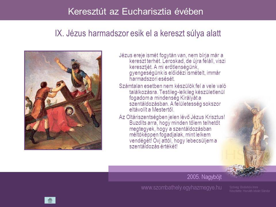 Keresztút az Eucharisztia évében Jézus ereje ismét fogytán van, nem bírja már a kereszt terhét. Leroskad, de újra feláll, viszi keresztjét. A mi erőtl
