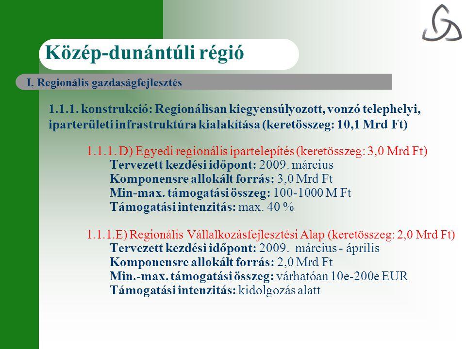 1.1.1. D) Egyedi regionális ipartelepítés (keretösszeg: 3,0 Mrd Ft) Tervezett kezdési időpont: 2009. március Komponensre allokált forrás: 3,0 Mrd Ft M