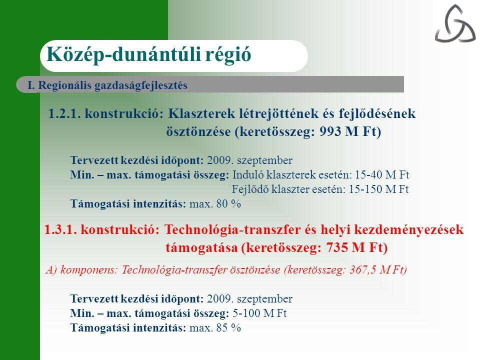 Közép-dunántúli régió 1.2.1. konstrukció: Klaszterek létrejöttének és fejlődésének ösztönzése (keretösszeg: 993 M Ft) Tervezett kezdési időpont: 2009.