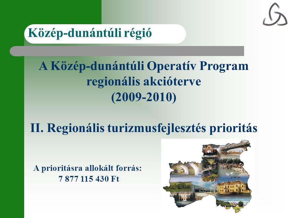 A Közép-dunántúli Operatív Program regionális akcióterve (2009-2010) II. Regionális turizmusfejlesztés prioritás Közép-dunántúli régió A prioritásra a