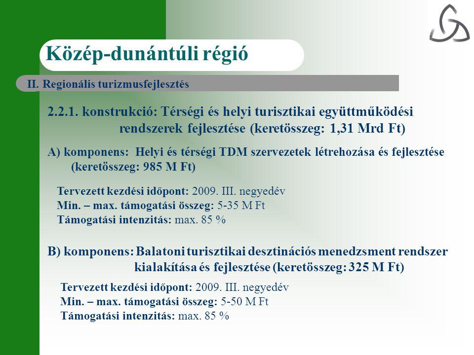 2.2.1. konstrukció: Térségi és helyi turisztikai együttműködési rendszerek fejlesztése (keretösszeg: 1,31 Mrd Ft) A) komponens: Helyi és térségi TDM s