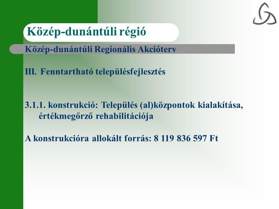 Közép-dunántúli Regionális Akcióterv III. Fenntartható településfejlesztés 3.1.1. konstrukció: Település (al)központok kialakítása, értékmegőrző rehab