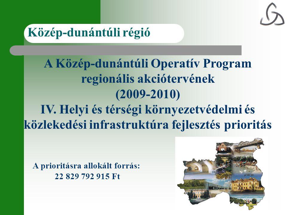 A Közép-dunántúli Operatív Program regionális akciótervének (2009-2010) IV. Helyi és térségi környezetvédelmi és közlekedési infrastruktúra fejlesztés