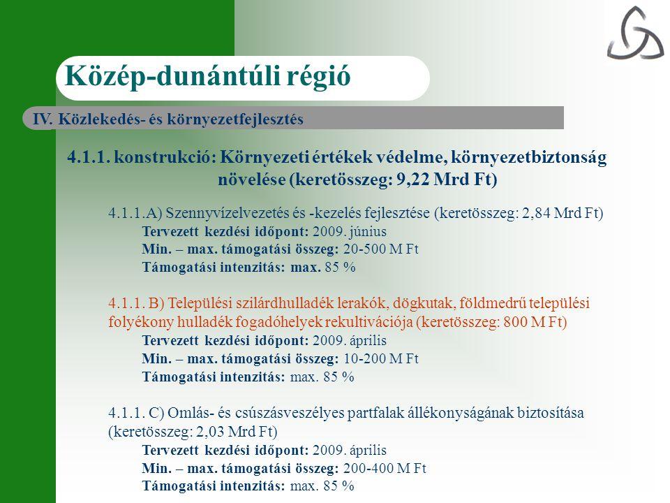 4.1.1. konstrukció: Környezeti értékek védelme, környezetbiztonság növelése (keretösszeg: 9,22 Mrd Ft) 4.1.1.A) Szennyvízelvezetés és -kezelés fejlesz