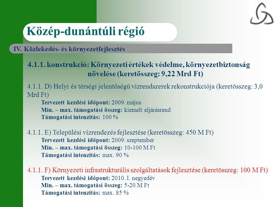 4.1.1. konstrukció: Környezeti értékek védelme, környezetbiztonság növelése (keretösszeg: 9,22 Mrd Ft) 4.1.1. D) Helyi és térségi jelentőségű vízrends