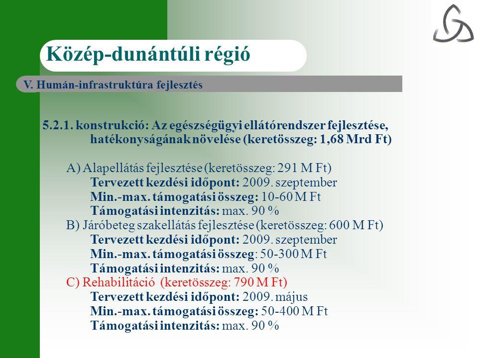5.2.1. konstrukció: Az egészségügyi ellátórendszer fejlesztése, hatékonyságának növelése (keretösszeg: 1,68 Mrd Ft) A) Alapellátás fejlesztése (keretö