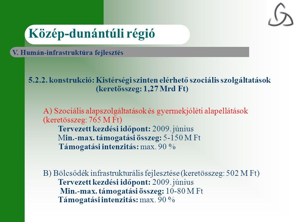 5.2.2. konstrukció: Kistérségi szinten elérhető szociális szolgáltatások (keretösszeg: 1,27 Mrd Ft) A) Szociális alapszolgáltatások és gyermekjóléti a
