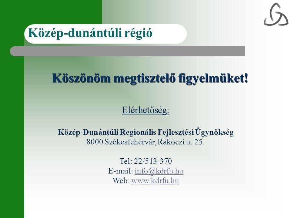 Köszönöm megtisztelő figyelmüket! Közép-dunántúli régió Elérhetőség: Közép-Dunántúli Regionális Fejlesztési Ügynökség 8000 Székesfehérvár, Rákóczi u.