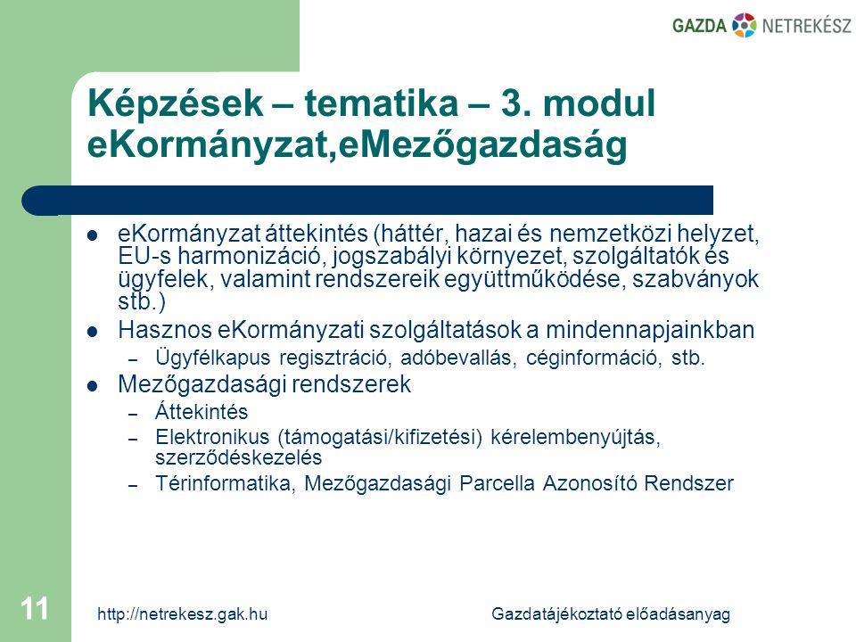 http://netrekesz.gak.huGazdatájékoztató előadásanyag 11 Képzések – tematika – 3.