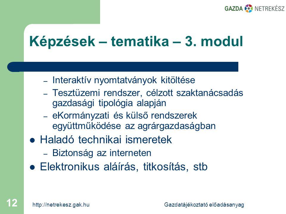 http://netrekesz.gak.huGazdatájékoztató előadásanyag 12 – Interaktív nyomtatványok kitöltése – Tesztüzemi rendszer, célzott szaktanácsadás gazdasági tipológia alapján – eKormányzati és külső rendszerek együttműködése az agrárgazdaságban  Haladó technikai ismeretek – Biztonság az interneten  Elektronikus aláírás, titkosítás, stb Képzések – tematika – 3.