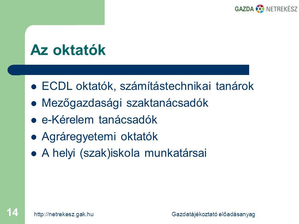 http://netrekesz.gak.huGazdatájékoztató előadásanyag 14 Az oktatók  ECDL oktatók, számítástechnikai tanárok  Mezőgazdasági szaktanácsadók  e-Kérelem tanácsadók  Agráregyetemi oktatók  A helyi (szak)iskola munkatársai