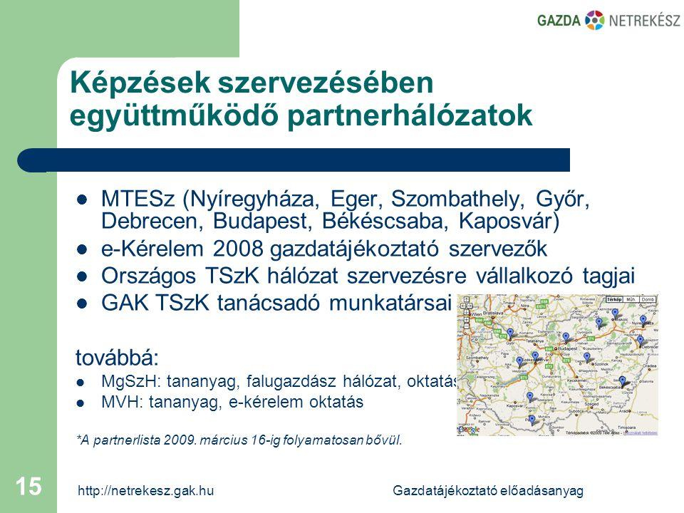 http://netrekesz.gak.huGazdatájékoztató előadásanyag 15 Képzések szervezésében együttműködő partnerhálózatok  MTESz (Nyíregyháza, Eger, Szombathely, Győr, Debrecen, Budapest, Békéscsaba, Kaposvár)  e-Kérelem 2008 gazdatájékoztató szervezők  Országos TSzK hálózat szervezésre vállalkozó tagjai  GAK TSzK tanácsadó munkatársai továbbá:  MgSzH: tananyag, falugazdász hálózat, oktatás  MVH: tananyag, e-kérelem oktatás *A partnerlista 2009.