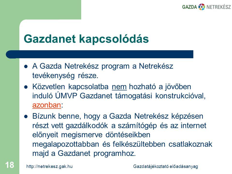 http://netrekesz.gak.huGazdatájékoztató előadásanyag 18 Gazdanet kapcsolódás  A Gazda Netrekész program a Netrekész tevékenység része.