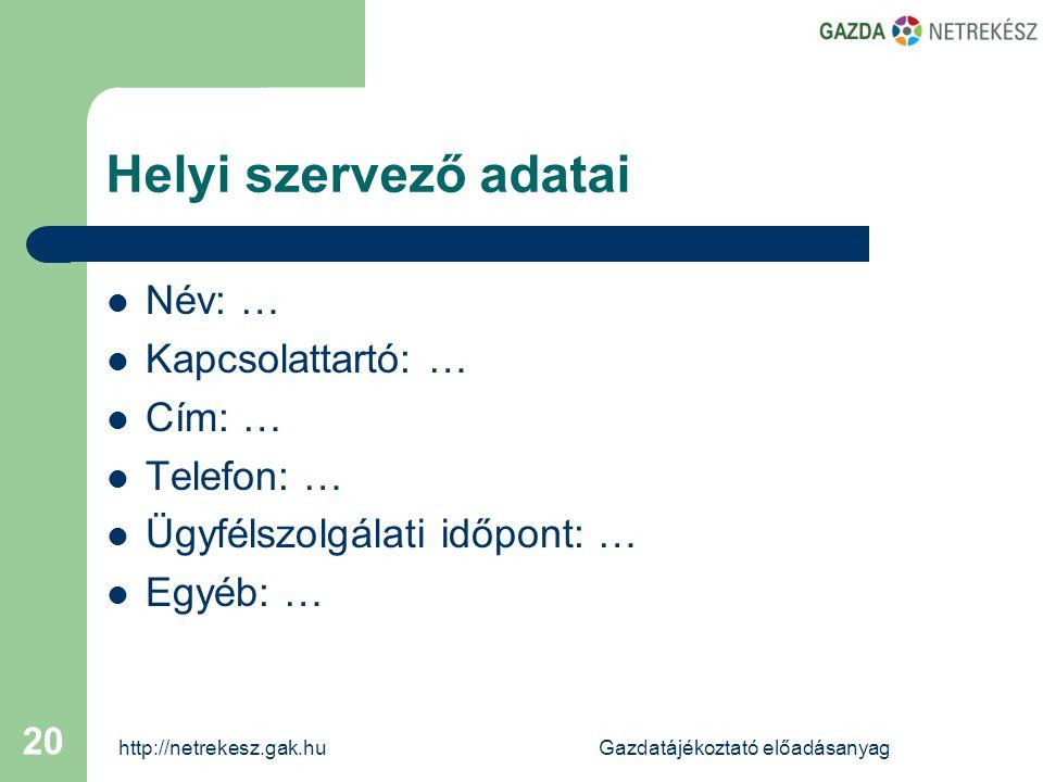 http://netrekesz.gak.huGazdatájékoztató előadásanyag 20 Helyi szervező adatai  Név: …  Kapcsolattartó: …  Cím: …  Telefon: …  Ügyfélszolgálati időpont: …  Egyéb: …