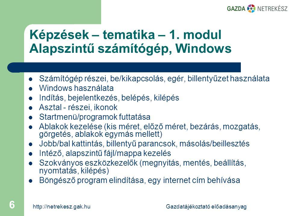 http://netrekesz.gak.huGazdatájékoztató előadásanyag 6 Képzések – tematika – 1.